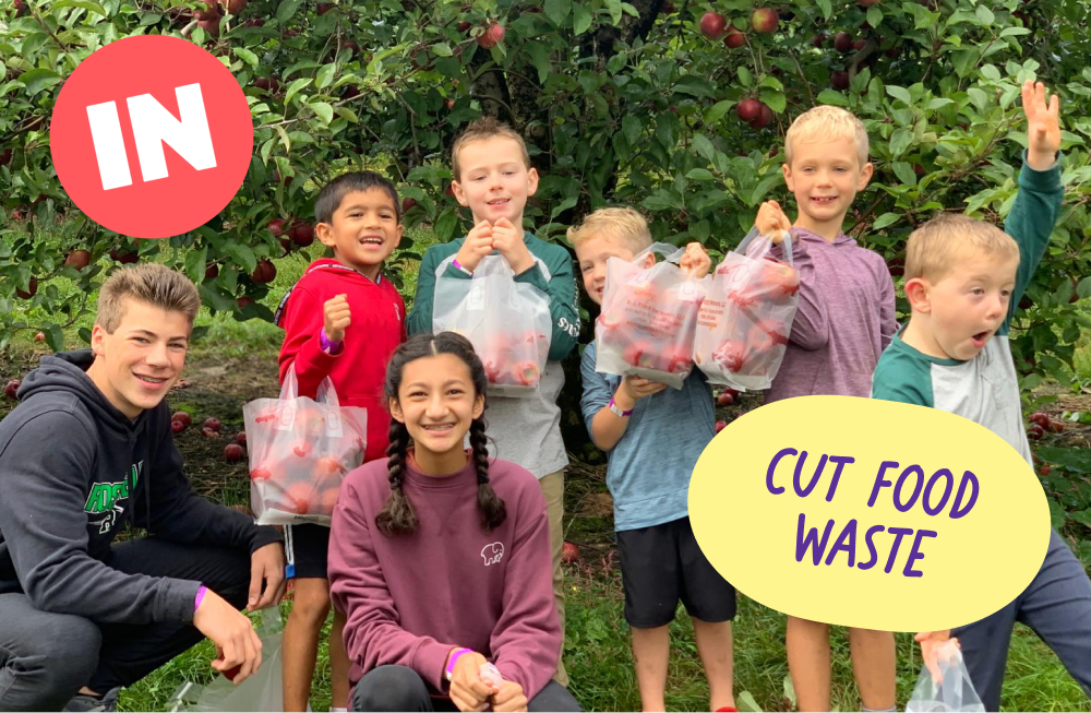 Family cutting their food waste