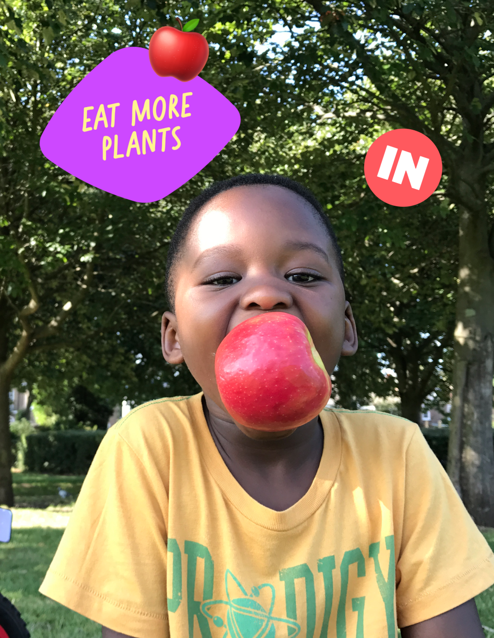 Child eating and apple
