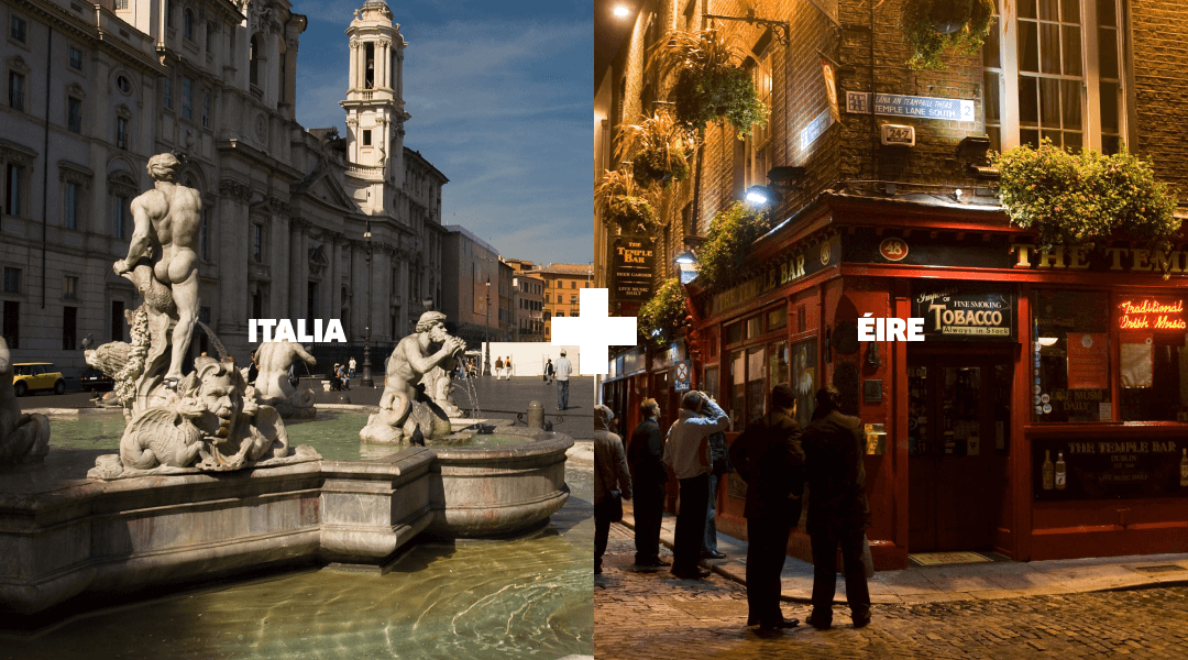Landmarks in Italy and Ireland