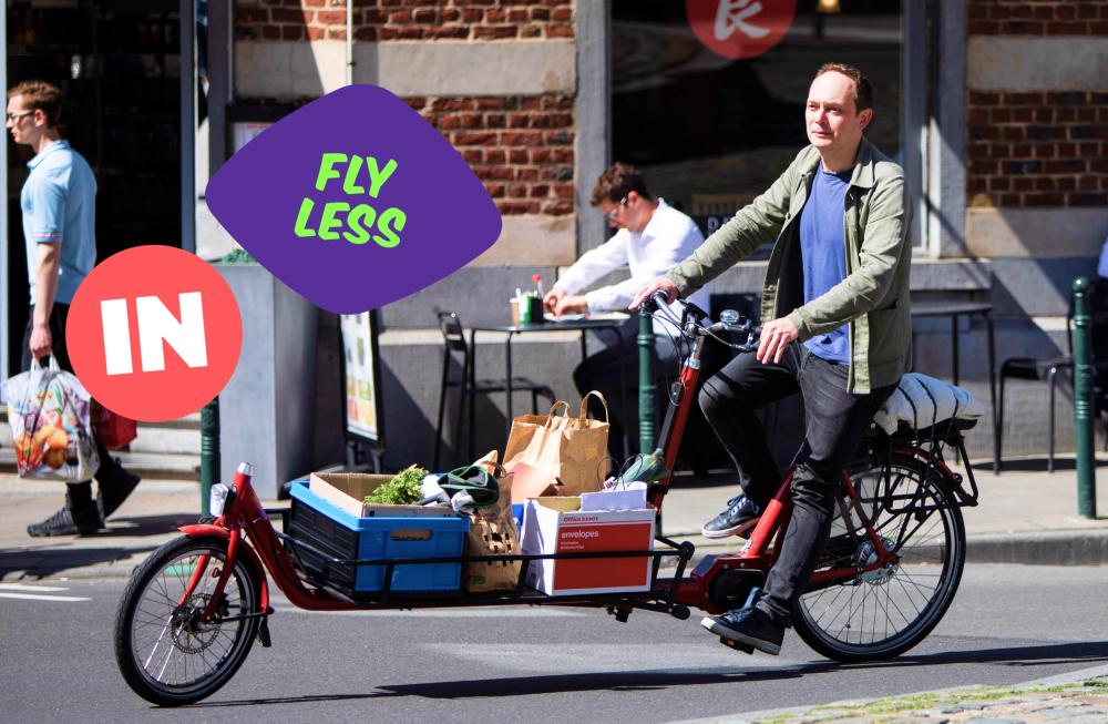Man on bike with cargo carrier in Belgium