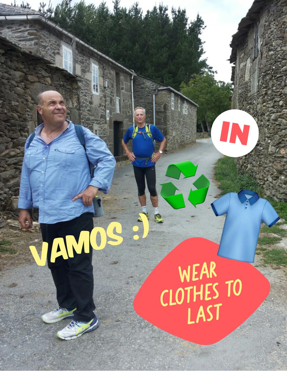 Two men walking Camino De Santiago