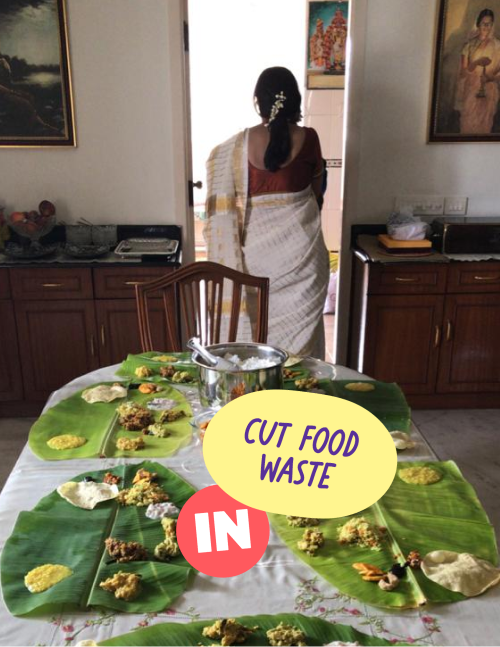 Dinner table laid with banana leaves instead of plates