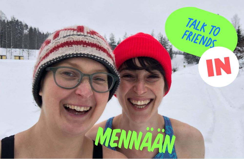 Friends in snow in Finland