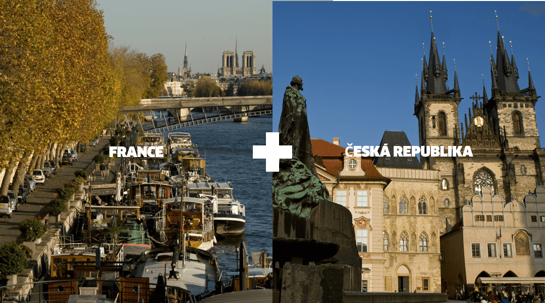 Landmarks in France and Czech Republic