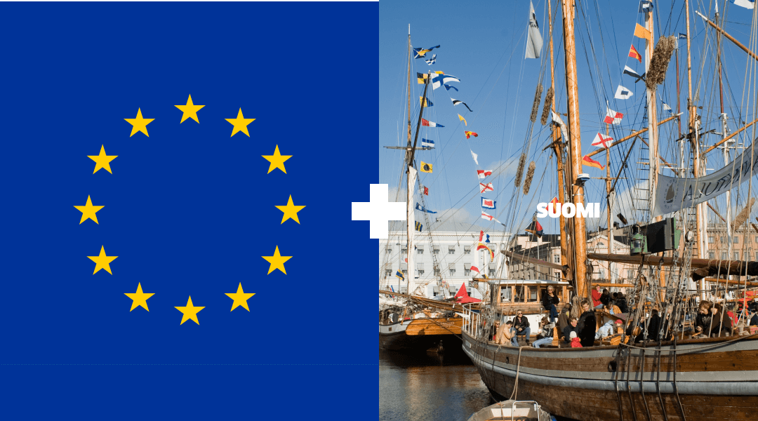EU Flag and Landmarks in Finland