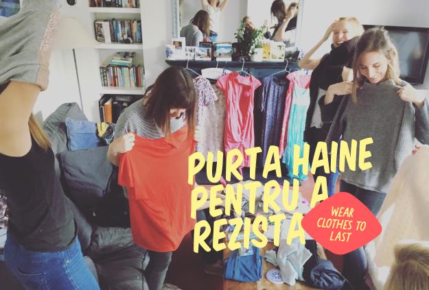 Group holding up clothes, Purta haine pentru a rezista