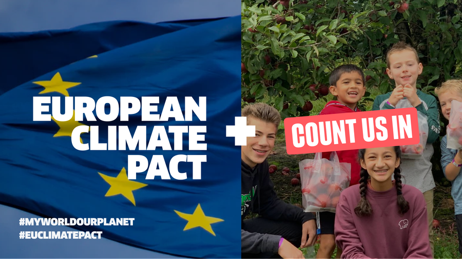European Climate Pact on background of EU Flag shown in partnership with Count Us In on a background of a group of children