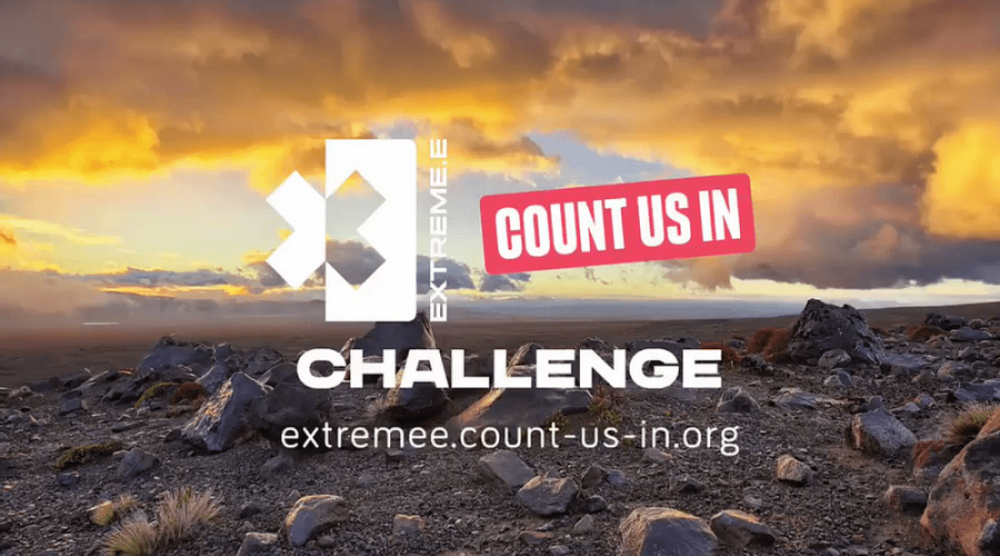 Desert scene with the Extreme E and Count Us In logo, promoting the Extreme E challenge
