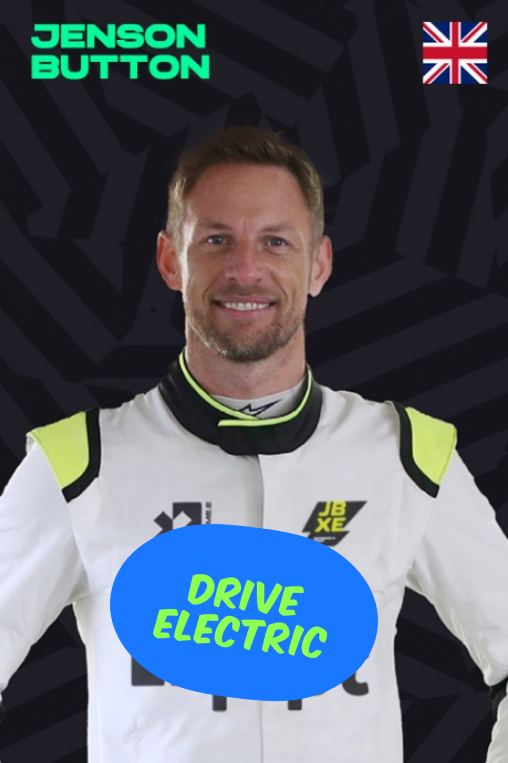 Jenson Button with a Drive Electric sticker
