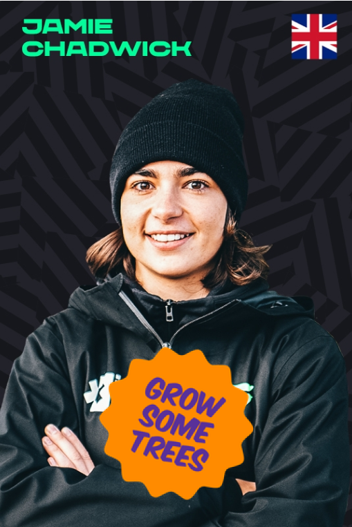 Jamie Chadwick with a Grow Some Trees sticker
