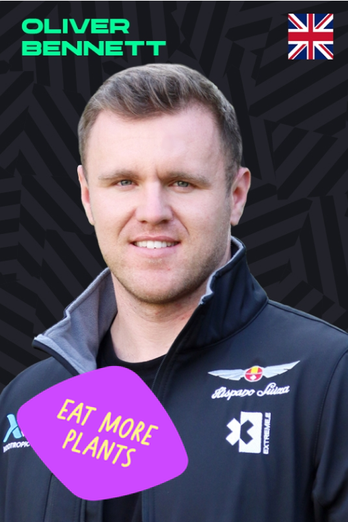 Oliver Bennett with Eat More Plants sticker