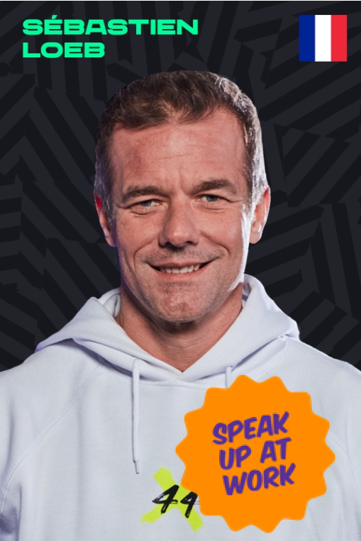 Sebastien Loeb with a Speak Up At Work sticker