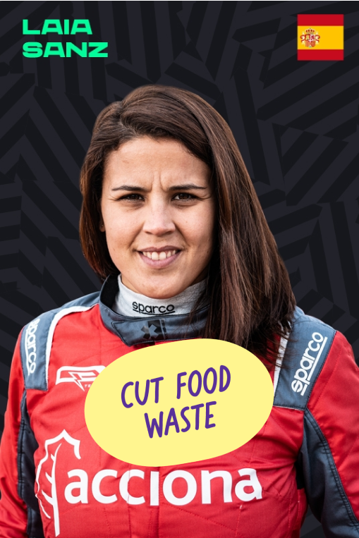 Laia Sanz with a Cut Food Waste sticker