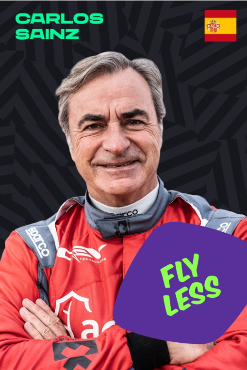 Carlos Sainz with a Fly Less sticker