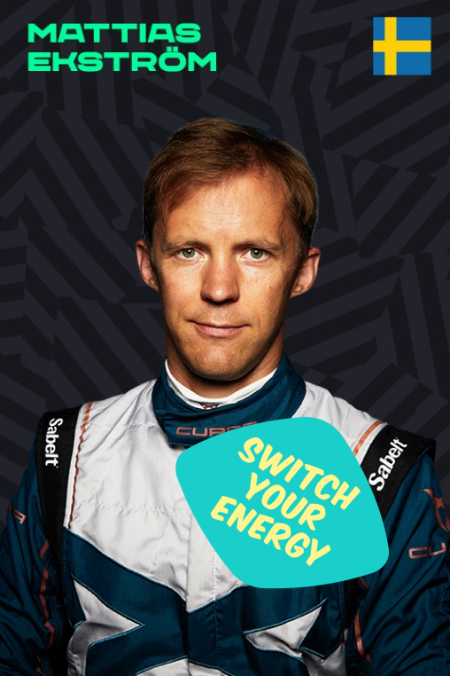 Mattias Ekstrom with a Switch Your Energy sticker