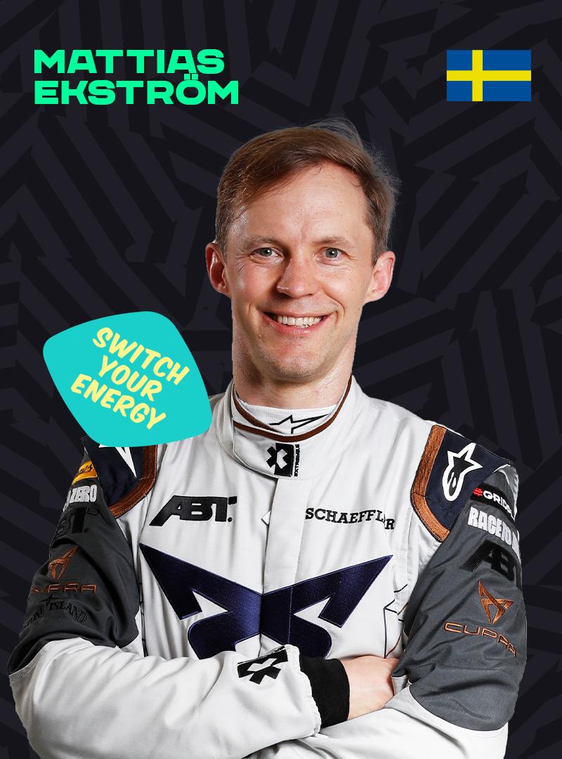 Mattias Ekstrom with a Switch Your Energy sticker