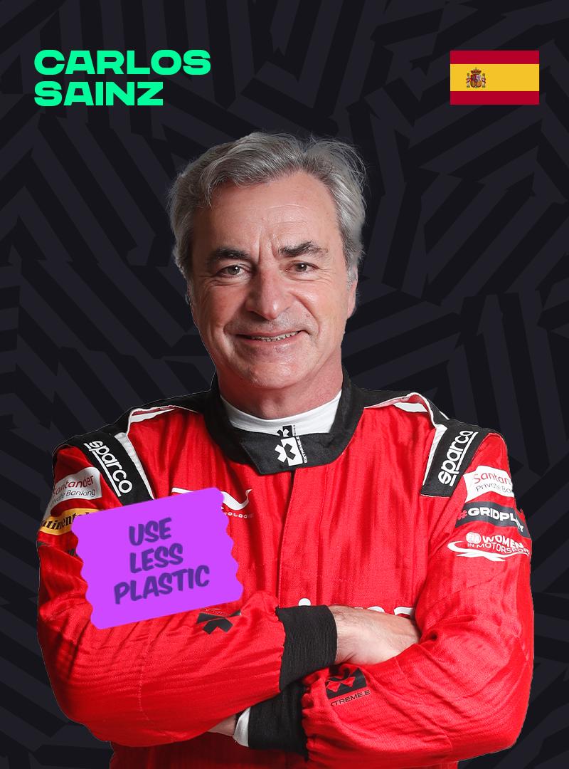 Carlos Sainz with a Fly Less sticker