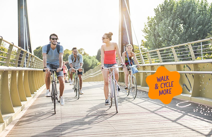 People cycling over a bridge with walk and cycle more sticker
